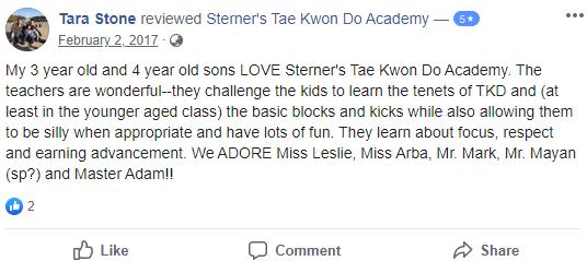 Prekids2, Sterner's Tae Kwon Do Academy